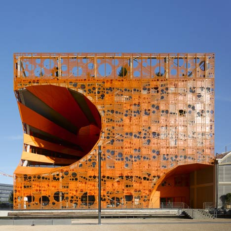 Jakob macfarlane the orange cube lyon france 2011 for Architecture lyon