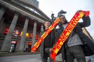 26/11/15... ROYAL EXCHANGE SQUARE - GLASGOW Partick Thistle David Amoo with Frederic Frans