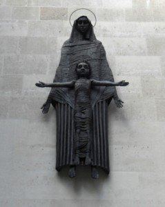 Station Six. Veronica wipes the face of Jesus. Cavendish Square Jacob Epstein, Madonna and Child, 1950-52 With nightime image projection planned by Hannah Habibi