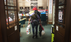 a homeless in library
