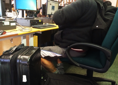 a homeless in library2