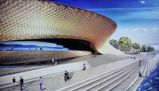 Visualisation of the future MAAT seen from the river. © Amanda Levete Architects (AL_A)