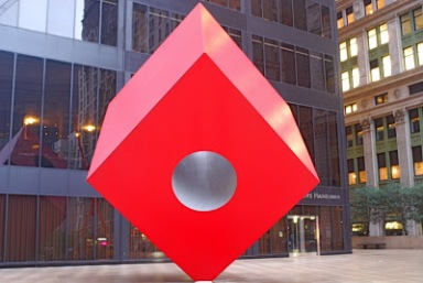 Isamu Noguchi. Red Cube, c.1968. Installed at 140 Broadway