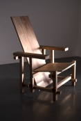SUPER FLEX, Red Blue Chair (Zanzibar Version), 2007, Dark wood from Zanzibar