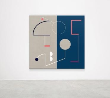 Sinta Tantra. SUN CLOCK IN DAY (BUCKMINSTER FULLER),2018 Tempera on linen, Diptych: 180 x 180 cm